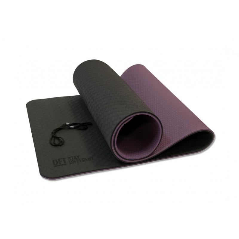 Коврик для йоги 10 мм двухслойный TPE черно-фиолетовый Original Fit.Tools FT-YGM10-TPE-BPP