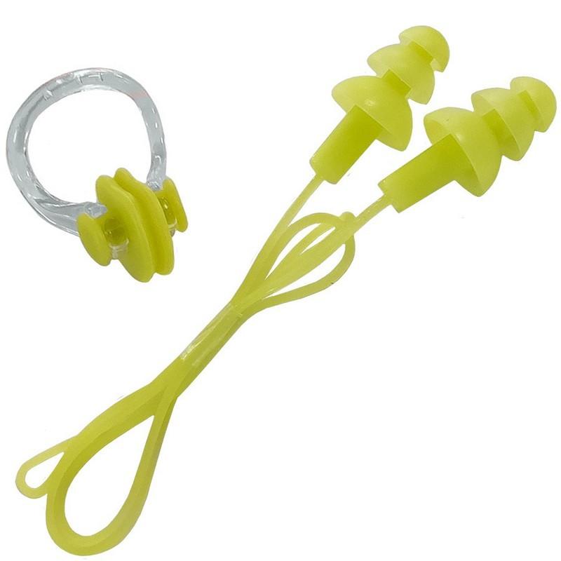 Набор для плавания беруши на шнурке и зажим для носа B31576 салатовый