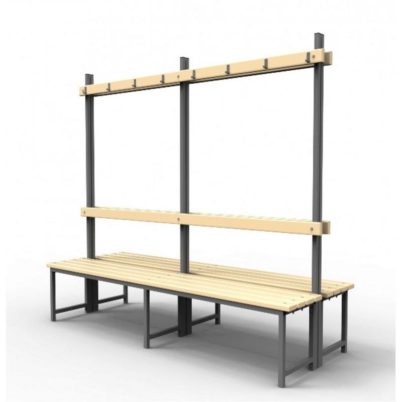 Скамейка для раздевалок с вешалкой двойная (пластик 30 мм) Gefest 100х75х178
