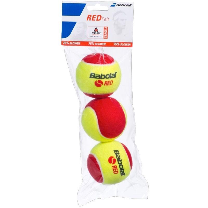 Мяч теннисный Babolat Red, 501036, 3 шт, желто-красный