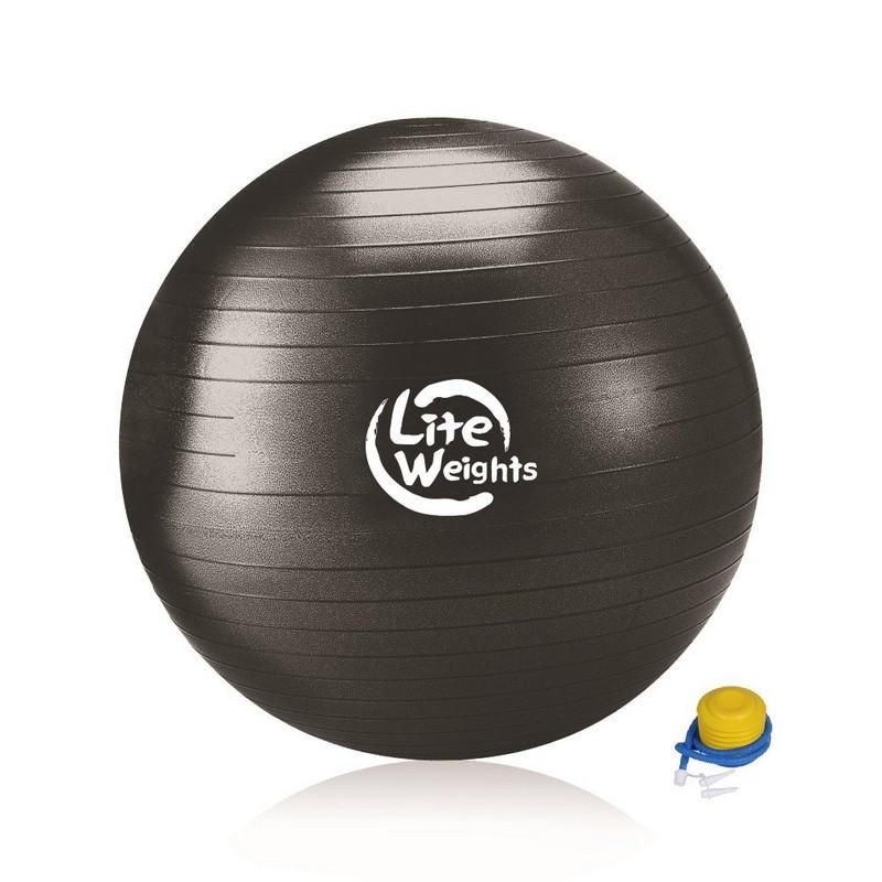 Гимнастический мяч Lite Weights 1869LW 100см, ножной насос, черный