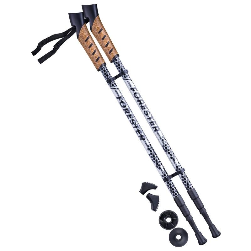 Палки для скандинавской ходьбы Berger Forester, 67-135 см, 3-секционные, серый/чёрный