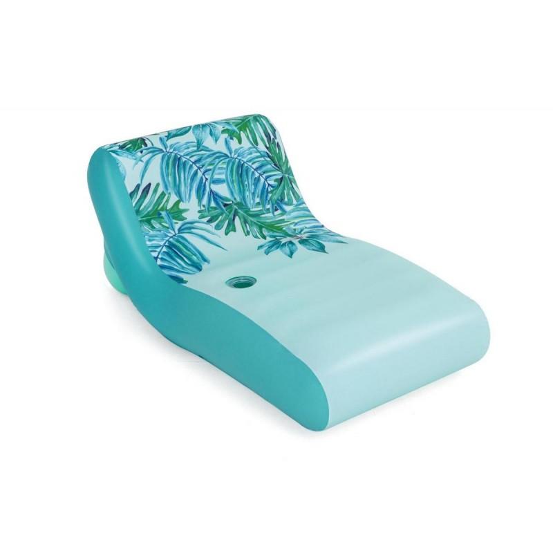 Надувной матрас-шезлонг для плавания 176х107см с тканевым чехлом и подстаканником Bestway 43402