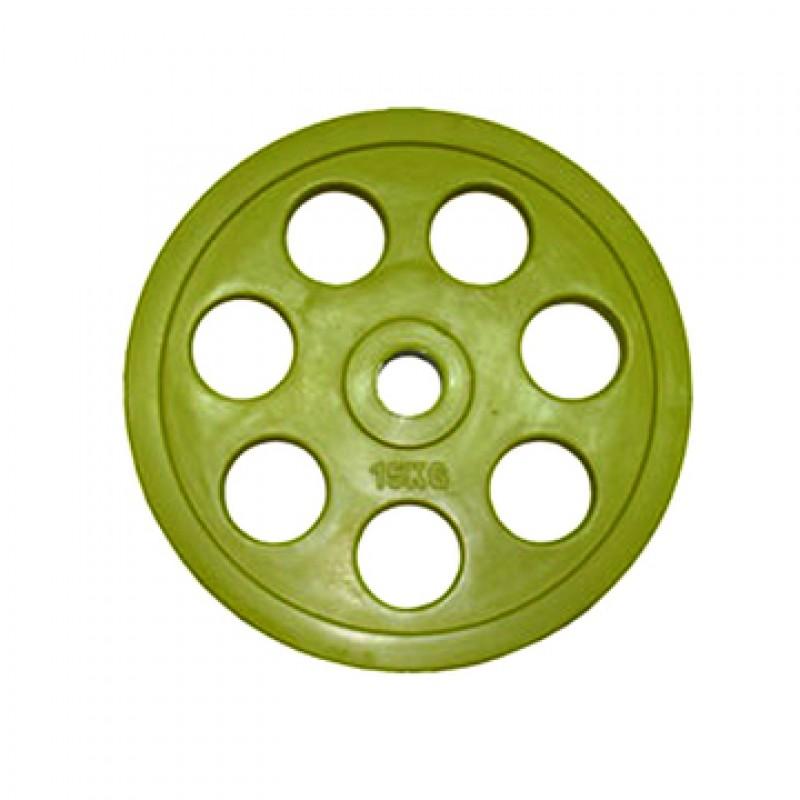Диск обрезиненный Oxygen Fitness евро-классик 15 кг d51мм желтый ромашка