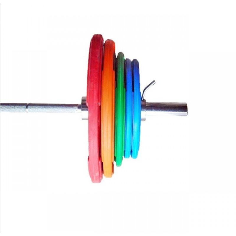 Штанга «Олимпийская» 150 кг в комплекте с цветными дисками V-Sport D50мм