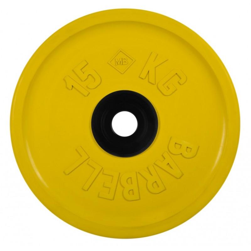 Диск олимпийский d51мм евро-классик MB Barbell MB-PltCE-15 15 кг желтый
