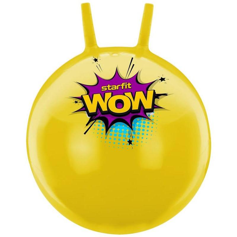 Мяч-попрыгун Starfit GB-0401, Wow, 55 см, 650 гр, с рожками, жёлтый, антивзрыв