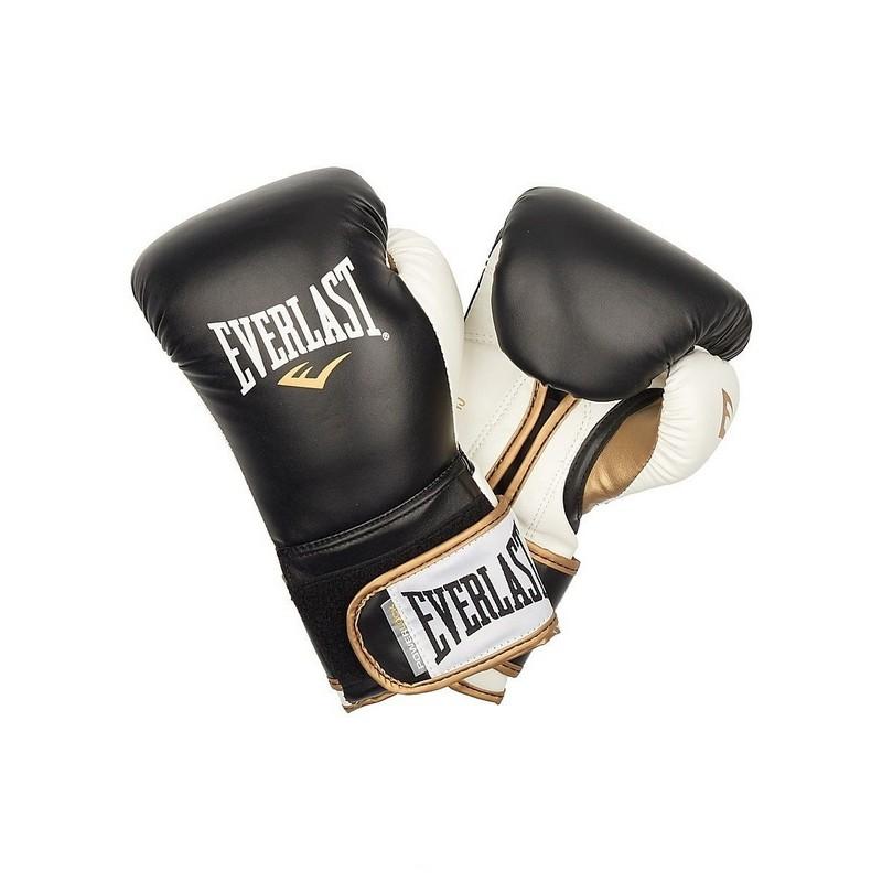 Перчатки тренировочные Everlast Powerlock PU черный/белый 16 oz P00000726