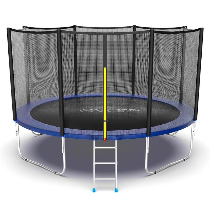 Батут с внешней сеткой и лестницей EVO Jump External 12ft, синий