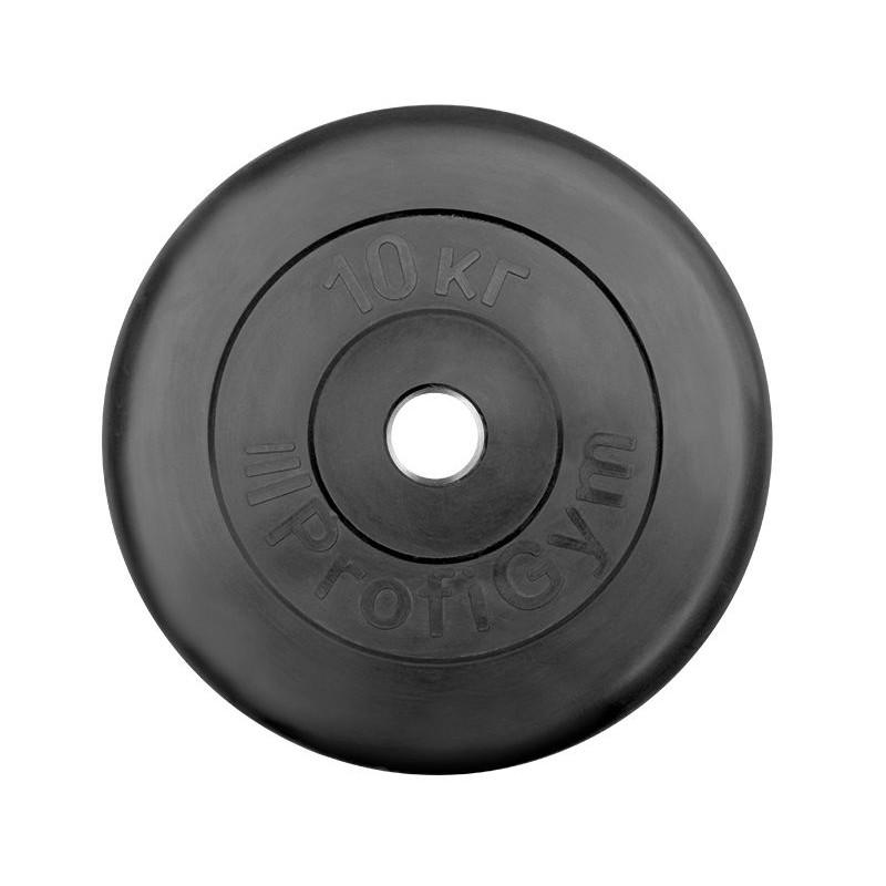 Диск обрезиненный ProfiGym D26 мм чёрный 10,0 кг ДТР-10/51