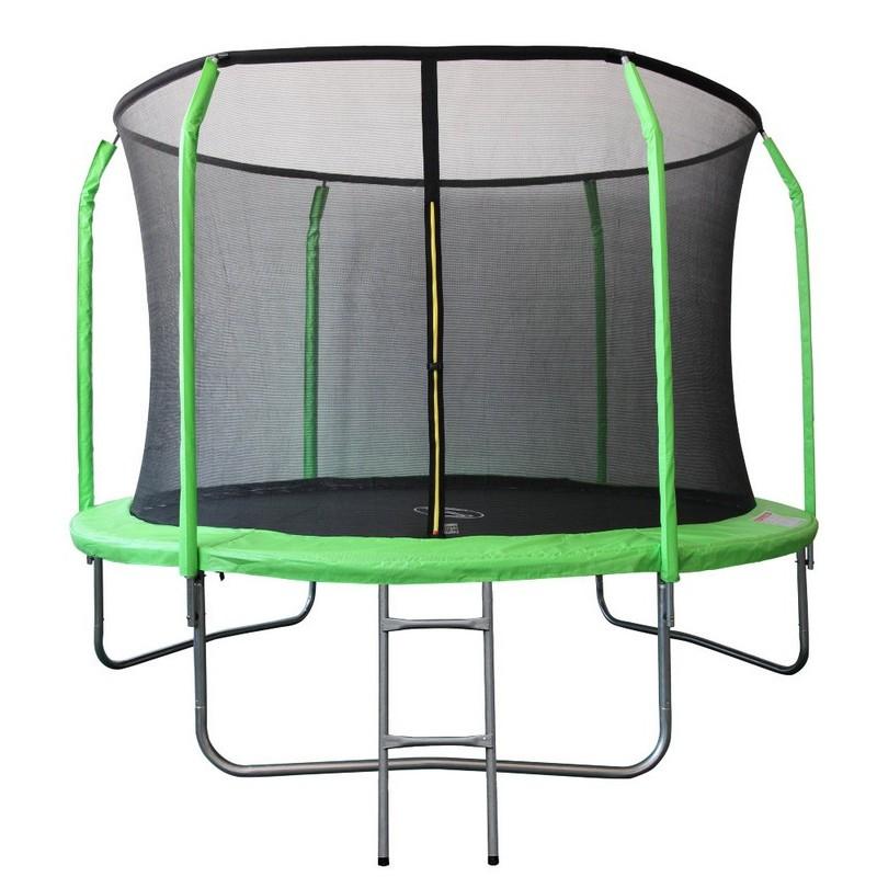 Батут Sport Elite фиберглас с защитной сеткой внутрь и лестницей GB30201-12FT салатовый