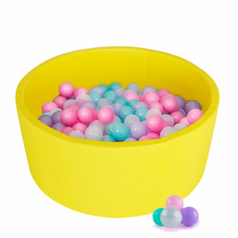 Детский сухой бассейн Kampfer Pretty Bubble (Желтый + 100 шаров розовый/мятный/жемчужный/сиреневый)