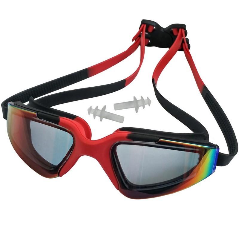 Очки для плавания взрослые с берушами C33452-5 красно-черные