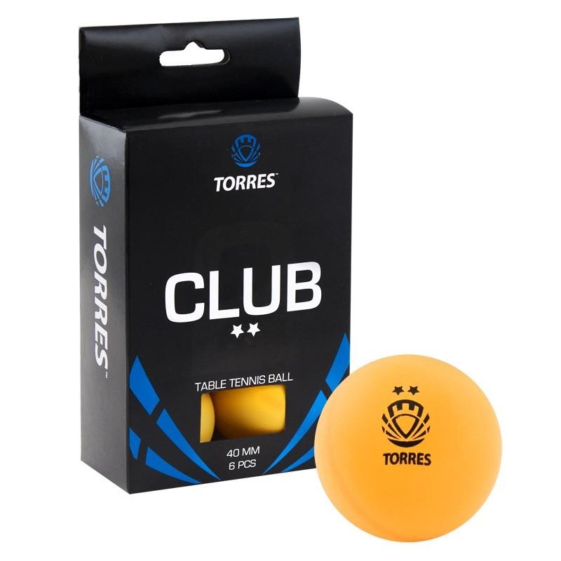 Мячи для настольного тенниса Torres Club 2* 6 шт TT0013 оранжевый