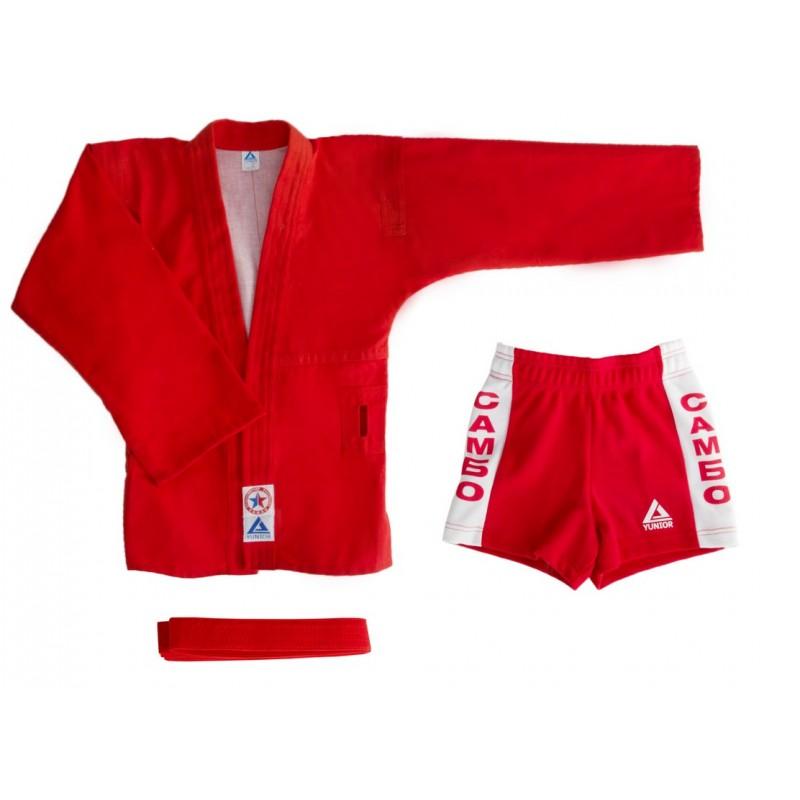Комплект для Самбо (куртка, шорты) легкий, лицензионный, красный