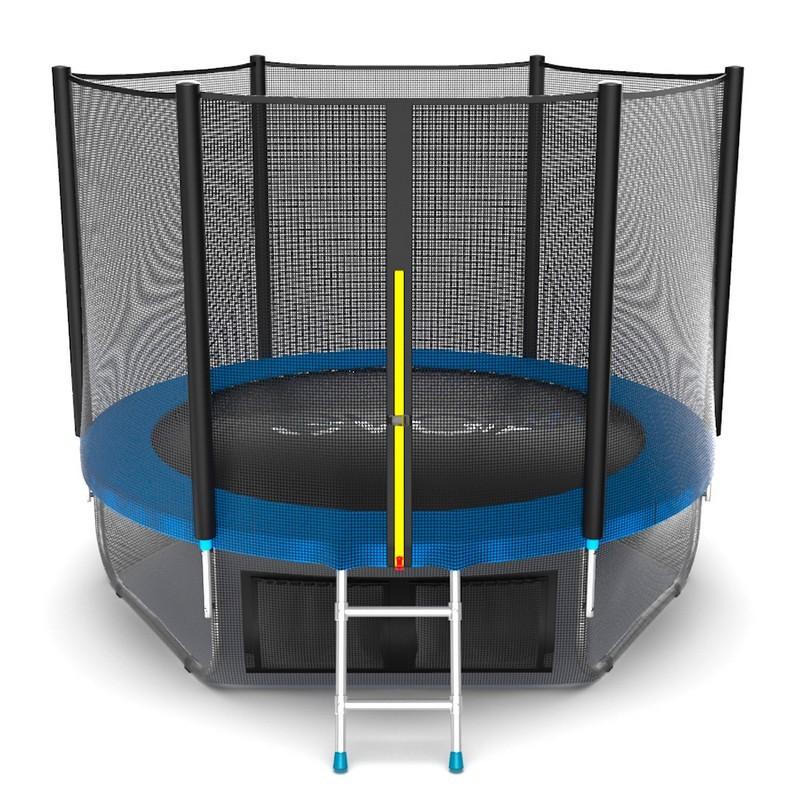 Батут с внешней сеткой и лестницей EVO Jump External 8ft+ нижняя сеть, синий