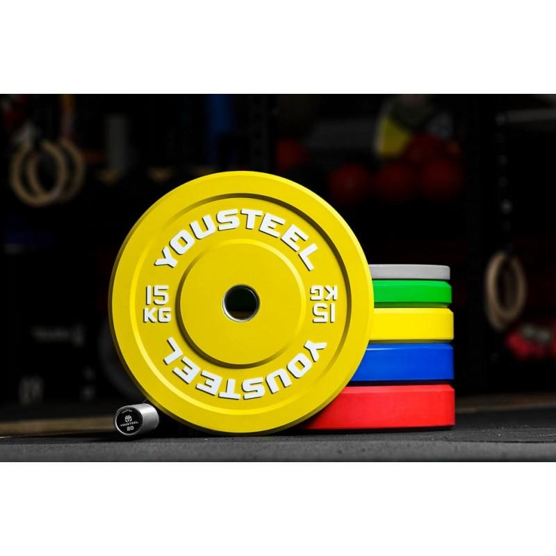 Диск 15кг, каучуковый, тренировочный, желтый YouSteel