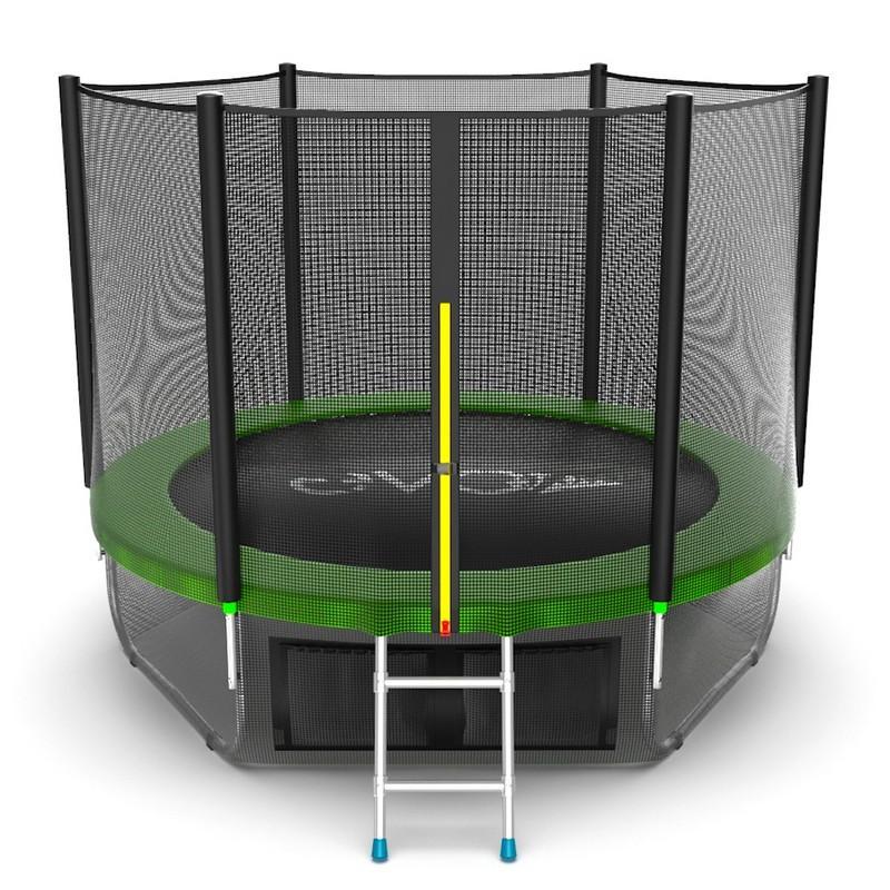 Батут с внешней сеткой и лестницей EVO Jump External 8ft+ нижняя сеть, зеленый