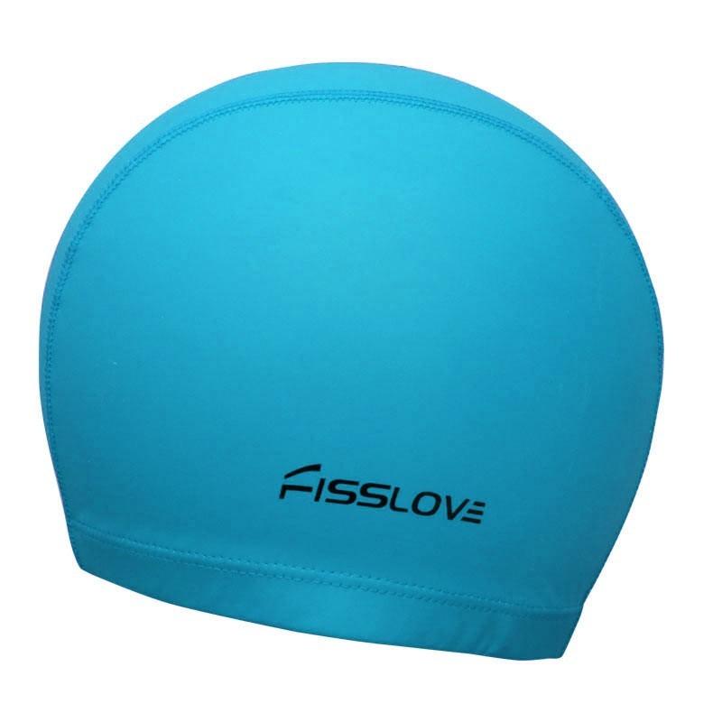 Шапочка для плавания R18191 Fisslove (ПУ) (голубая)