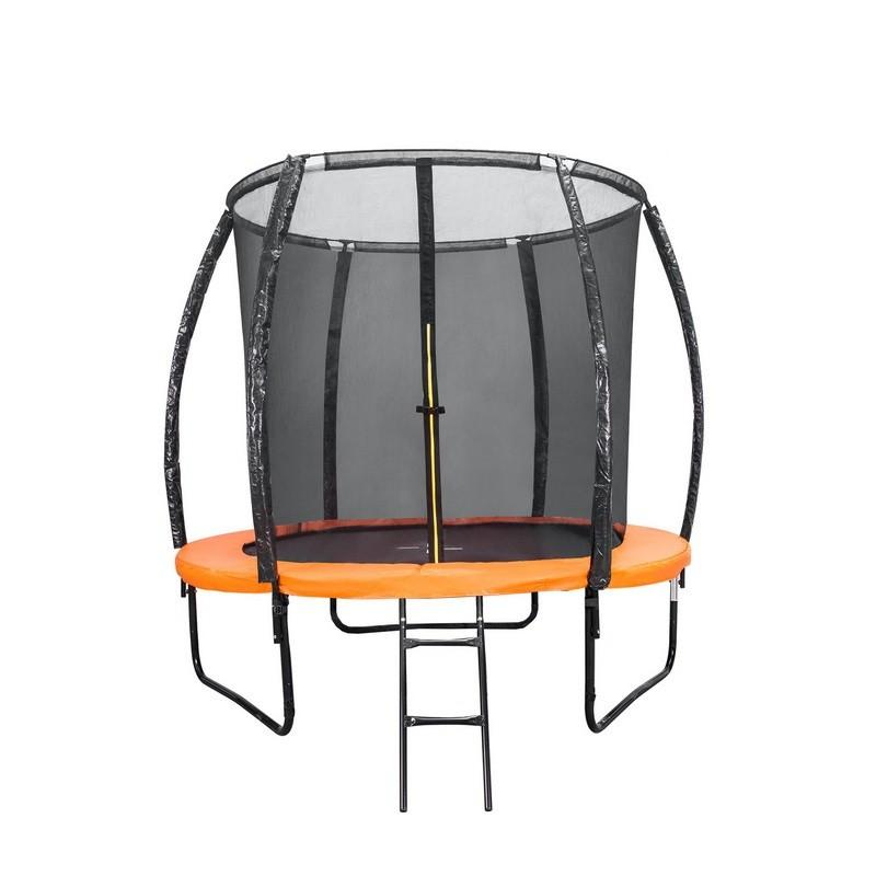 Батут DFC Kengoo II 8ft 244см внутр.сетка, лестница, оранж/черн 8FT-BAS-BO
