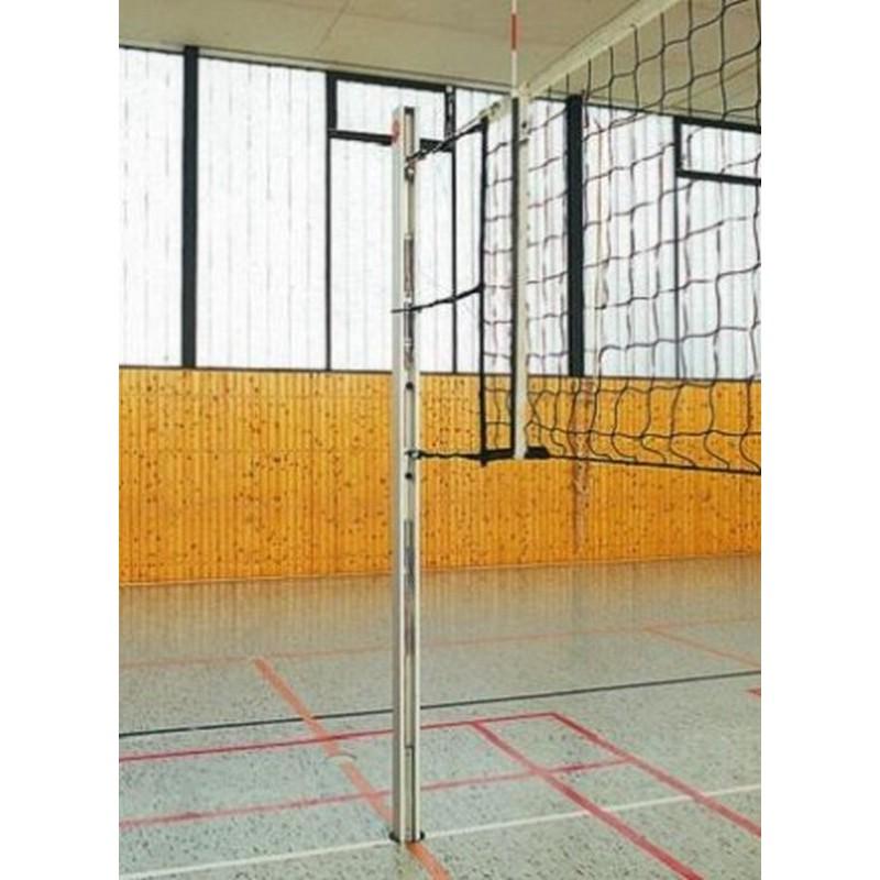 Стойки волейбольные круглые алюминиевые ф83 мм. Установка в стаканы высотой 35 см с крышками (стаканы в комплекте).Haspo 924-514