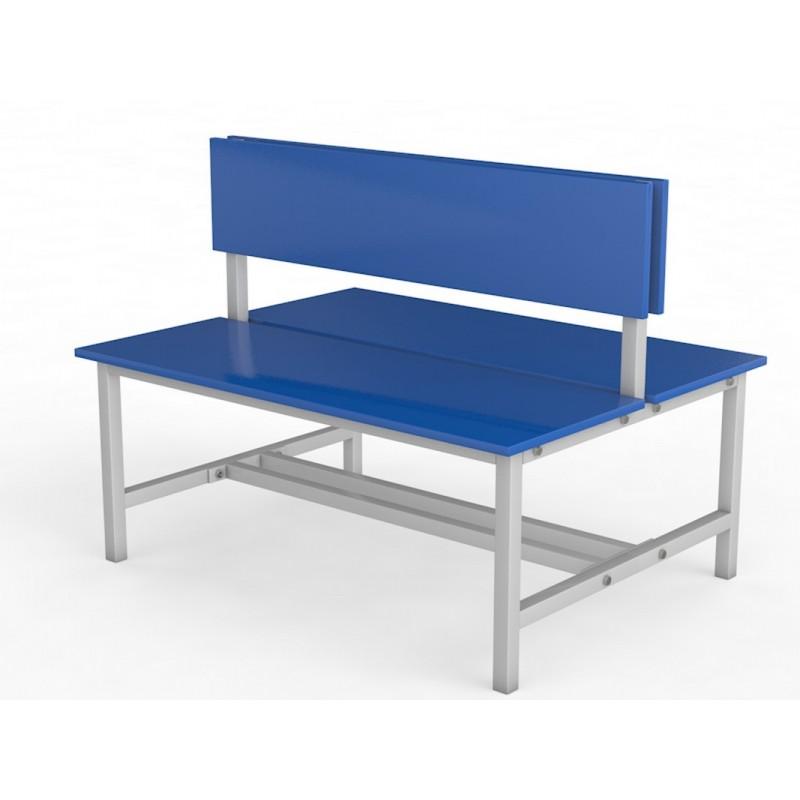 Скамейка для раздевалки со спинкой. Двухсторонняя. Настил ЛДСП. 50см Glav 10.800-500