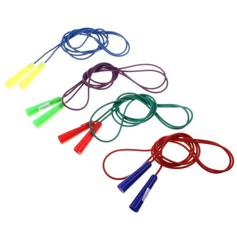 Скакалка цветная 1,8 м (шнур цветная резина, ручка пластик)