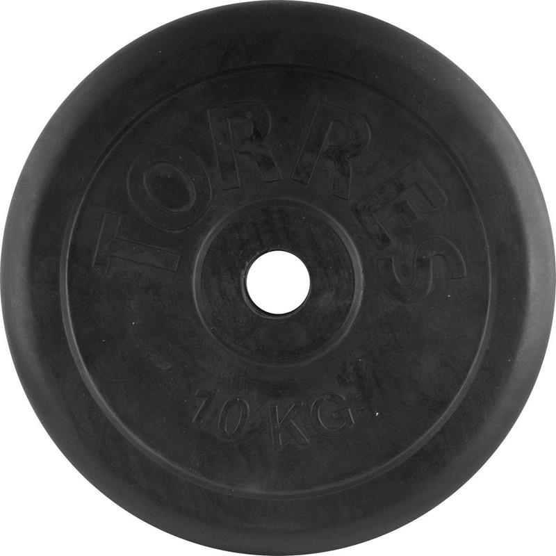 Диск обрезиненный d31 Torres PL506510 10 кг черный