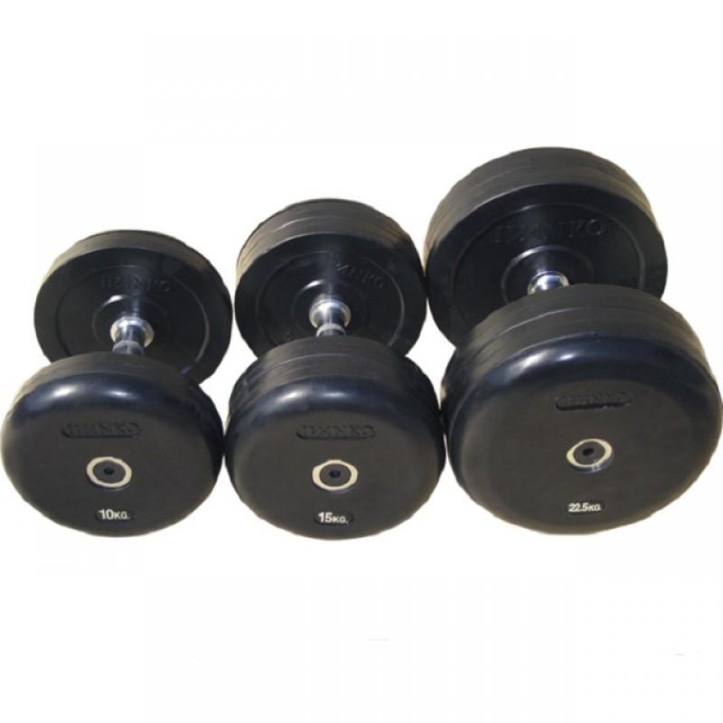 Комплект гантелей фиксированных обрезиненных, черные Johns 75074/52,5-60