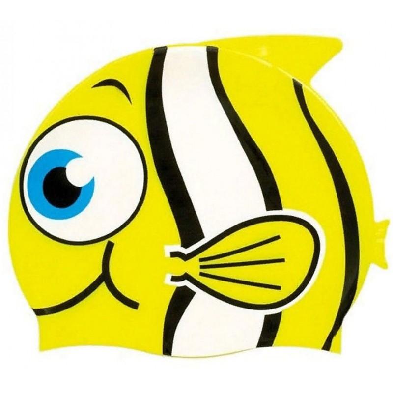 Шапочка для плавания силиконовая Рыбка YS30 желтая
