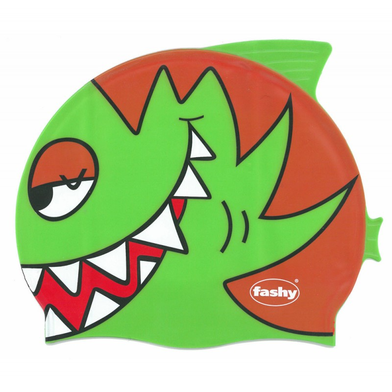 Шапочка для плавания детская Fashy Childrens Silicone Cap 3048-00-63, силикон, зелено-оранжевый