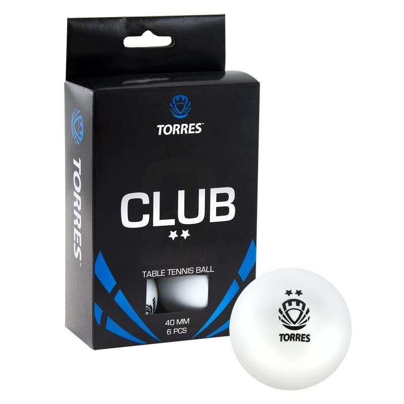 Мячи для настольного тенниса Torres Club 2* 6 шт TT0014 белый