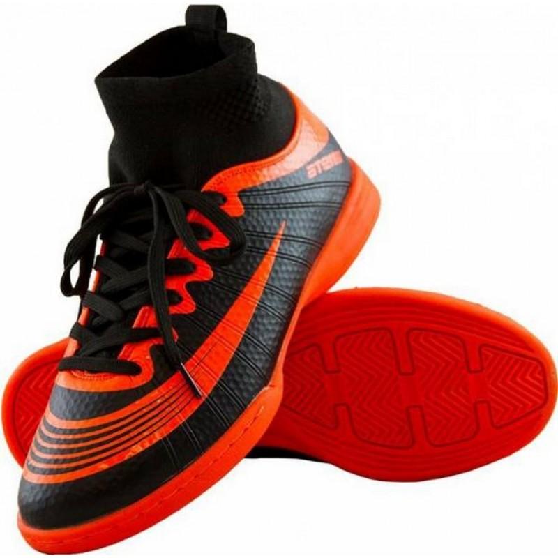 Бутсы футбольные Atemi SD100 Indoor черн/оранж, синтетическая кожа (30-46)