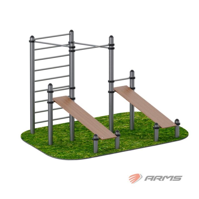 Комплекс из 2 скамеек для пресса и трех турников ARMS ARWOK020.4